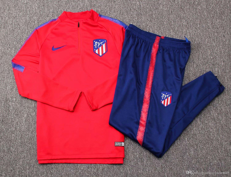 Compre Nuevo 18 19 Temporada Camisetas ATLETICO Traje De Entrenamiento  Atlético De Madrid 2018 2019 Hogar Local Chándal Camisetas De Fútbol Traje  De ... f10c50937fbdc
