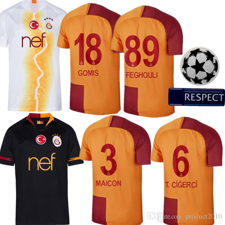 2019 +AA 2019 Galatasaray Adults Soccer Jersey Home Maicon T.Cigerci Gomis Feghouli  Turkey Galatasaray Black Away White Third Man Football Jersey From ... c06163f0b