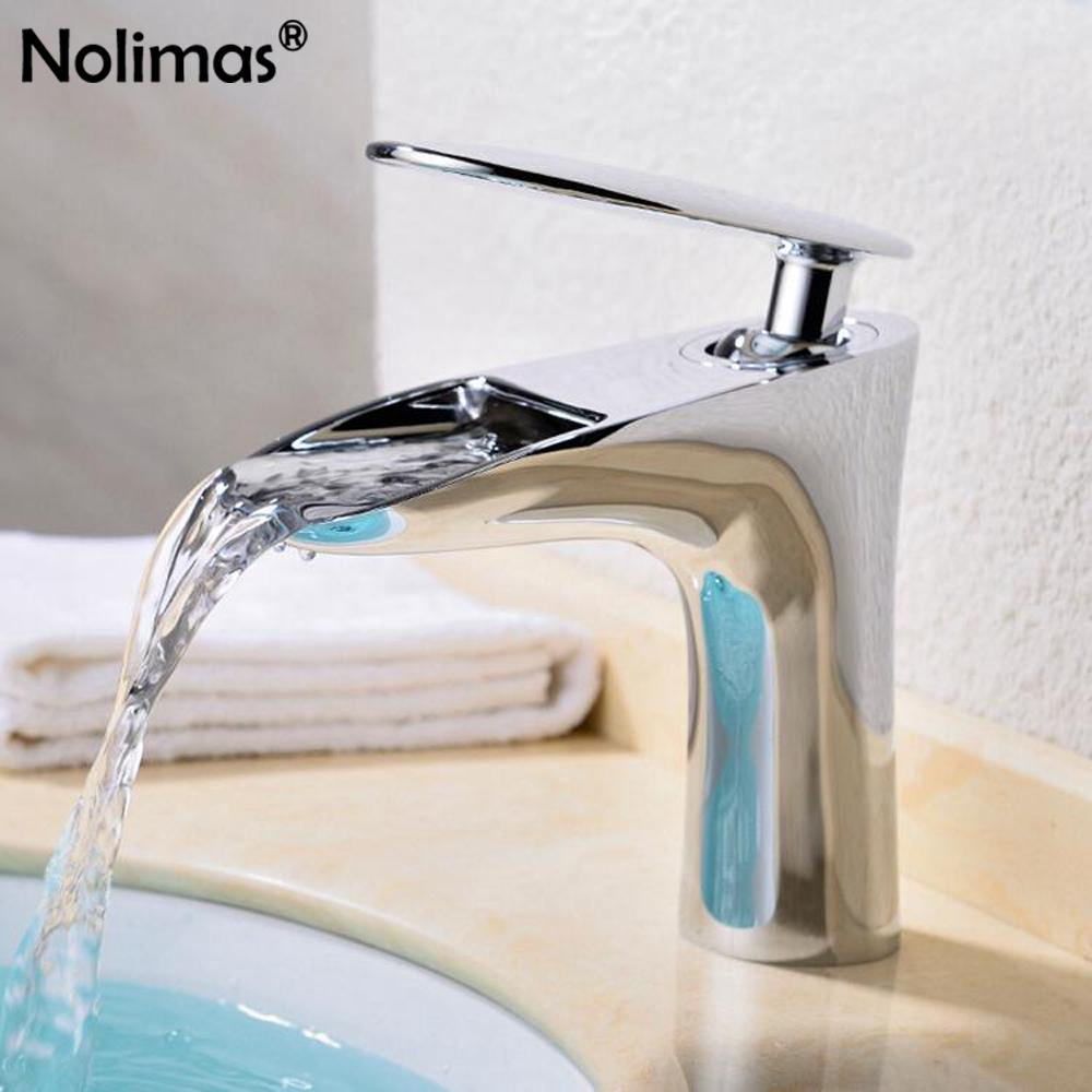 Best Waterfall Chrome Basin Faucets Bathroom Faucet Cold Hot Wate ...
