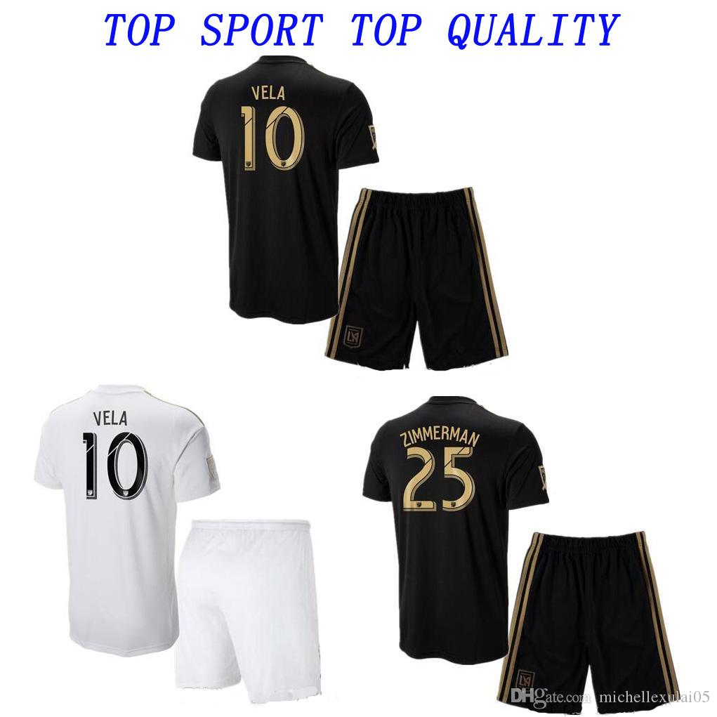 18 19 Los Angeles FC Kits De Fútbol 2018 2019 LAFC Carlos Vela GABER ROSSI  Shorts De Fútbol Soccer Thai Quality Mens Outdoor Sports Uniforms Por ... d200ce906517d