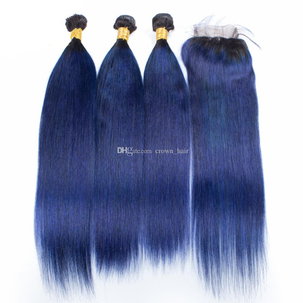 Silky Straight 1B Blue Hair Bundles With Lace Closure Brazilian Ombre Dark Blue Human Hair Weft With Top Closure Free Part