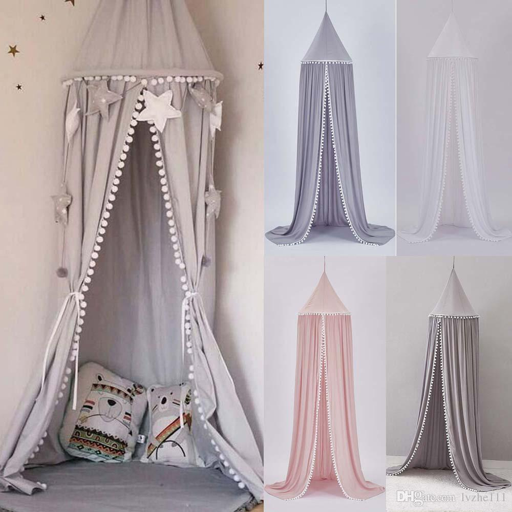 Kids Baby Bed Canopy Bedcover Mosquito Net Curtain Bedding Dome Tent Ball Light