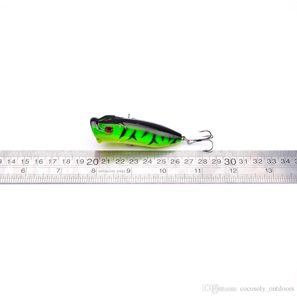 dur leurres de pêche 5 couleurs Popper leurre 7.3cm 11g appâts de pêche 6 # crochet en acier à haute teneur en carbone de pêche