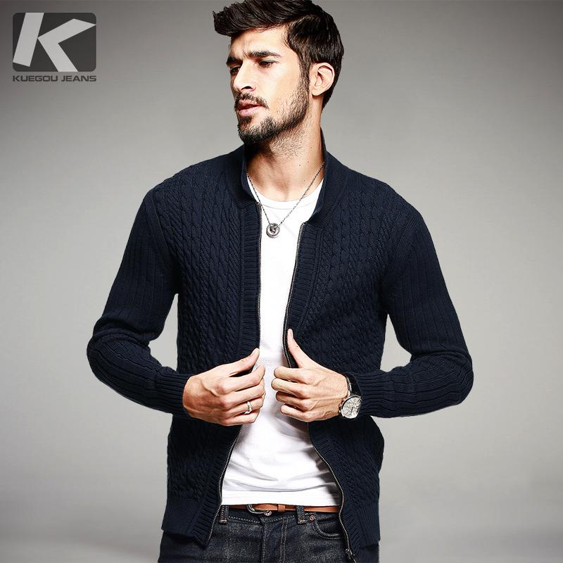 Compre Suéteres Algodón Casuales Otoño 100 Para Azul Hombre tawYrxaq