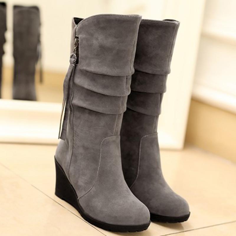 superior performance harmonious colors big discount Women short plush fringe flock mid-calf boots increase comfortable female  wedge shoes fashion botas femininas de inverno