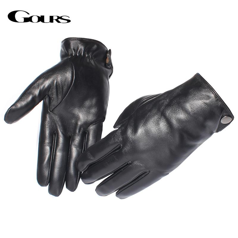 Gours Men's Genuine Leather Gloves Fashion Brand Real Sheepskin Black Touch Screen Gloves Button Winter Warm Mittens GSM051 C18111501