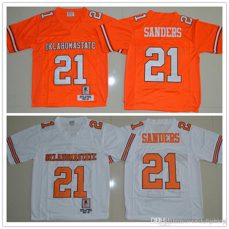 f11d9e060 ... cheap oklahoma state cowboys barry sanders mens jerses 21 white orange  men college football jersey size