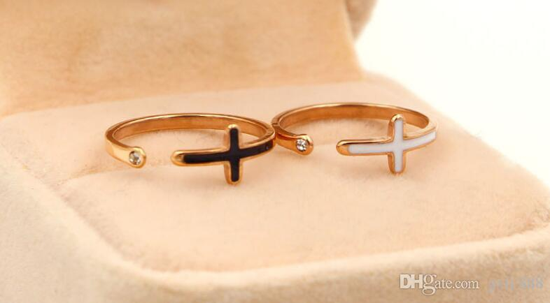 New fashion single drill cross black open titanium steel rose gold pop the same paragraph jewelry adjustment ring