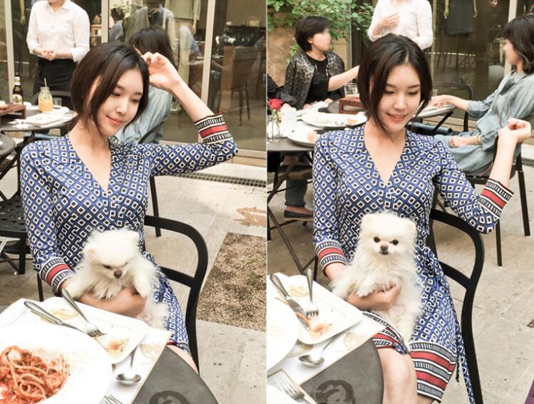 Été 2018 une nouvelle robe de cravate imprimée de style, montrant une version mince coréenne robe de plage décolleté en V livraison gratuite
