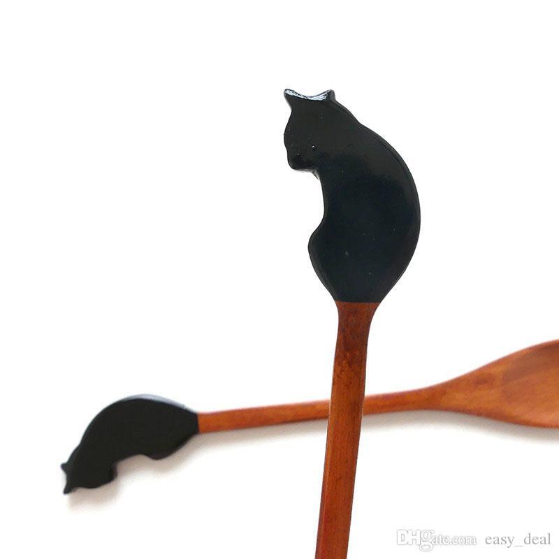 Cuchara de madera Mango largo Gato en forma de café hecho a mano Té Vajilla Pastel Helado Postre Cuchara ZA6005