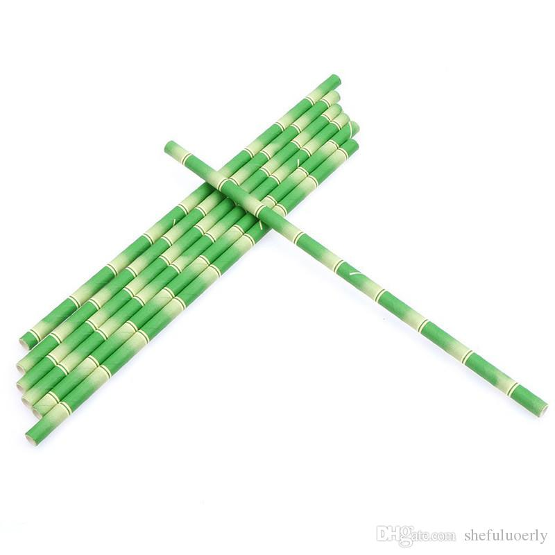Green Patterned Bamboo shape Paper Straws Cafe shop Bar drinking straw Wedding Birthday Mason Jar Straw Party Decorations