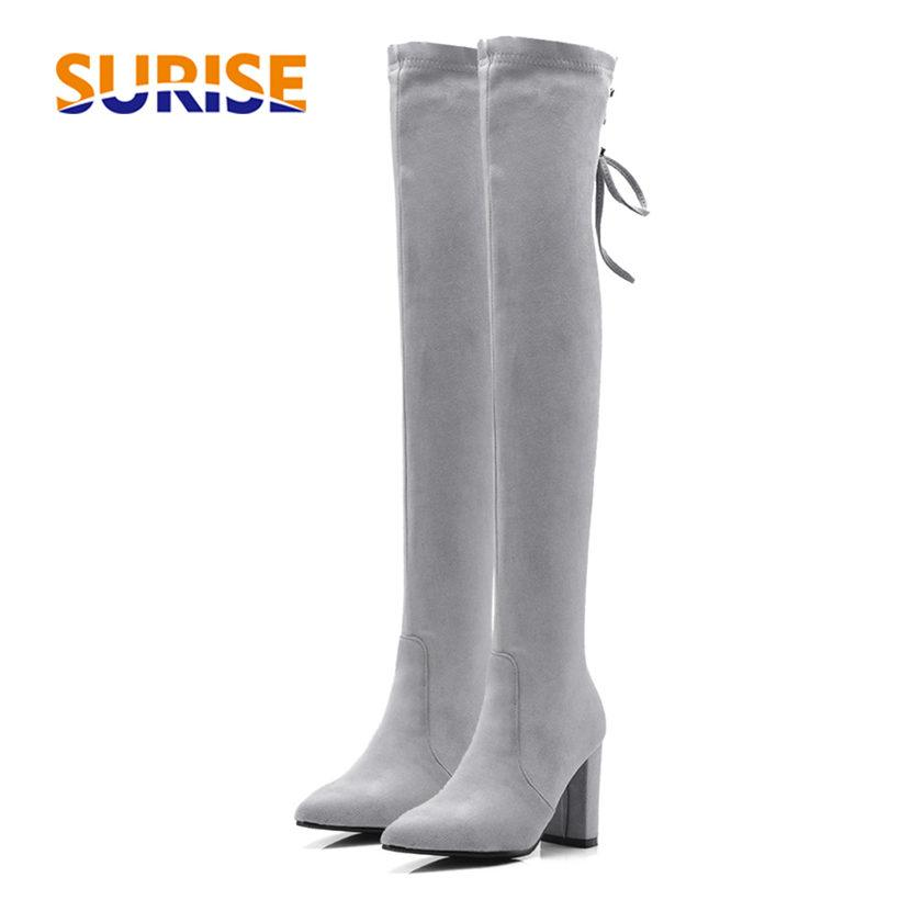 9adad11d4b6b Plus Size 32 46 Winter Women Thigh High Boots 8cm Square Block Heel Stretch  Flock Suede Pointed Toe Lace Up Long Over Knee Boots Cute Shoes Boots From  ...