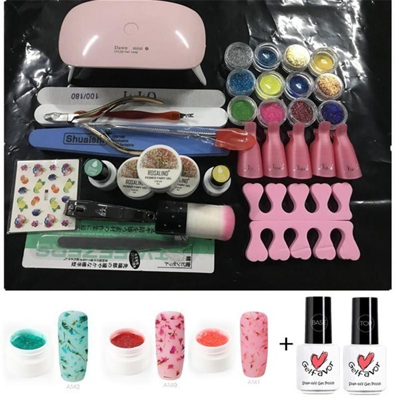 Gel Nail Polish Set Manicure Kit Mini UV Led Lamp Dryer Dry Flower ...