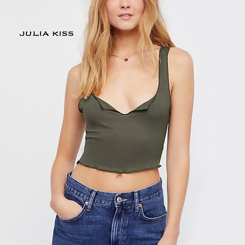 f942177f3b2ce 2019 Women Ribbed Tank Top A Small V Shape Neckline Crop Top From Vikey10