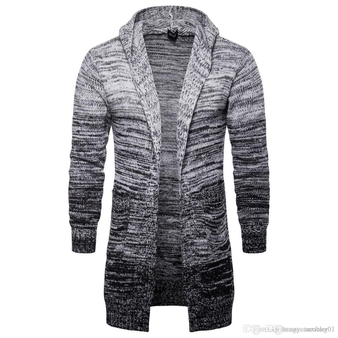 on sale 00f2e 6086d 2018 Herbst Herren Hoodie Strickjacke Jacke, Herrenbekleidung, europäischen  und amerikanischen Mid Stream langen grauen Strickpullover.