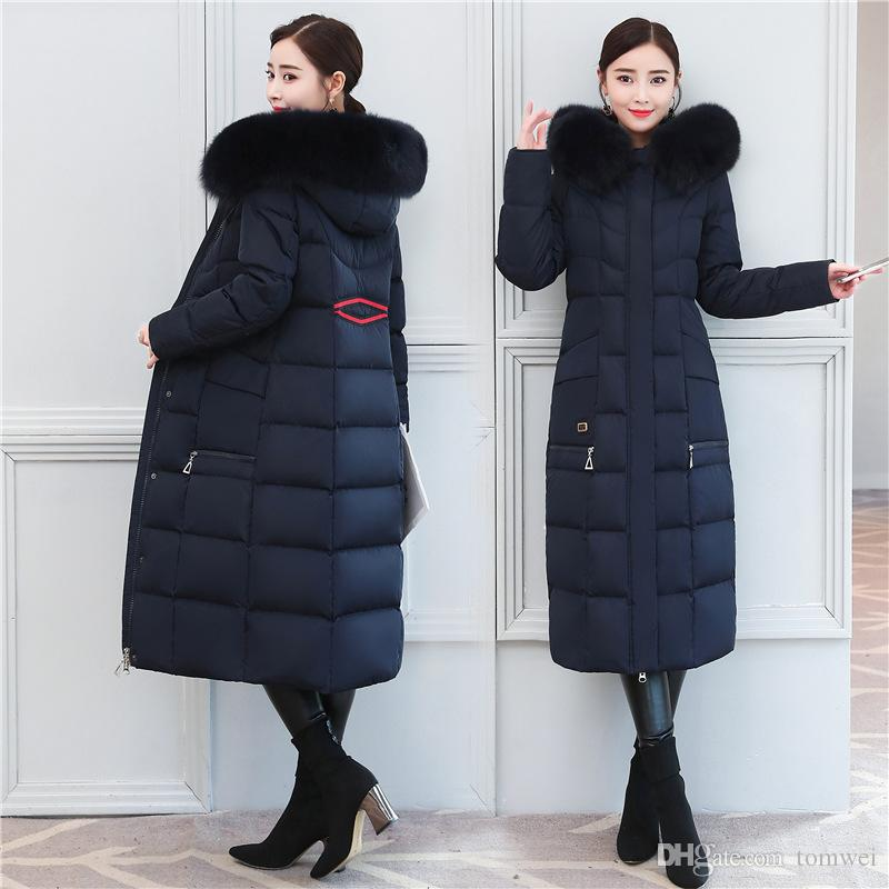 8ab212609157 Real Fox Big Fur Collar Long Down Jacket Female Winter Parka Duck ...