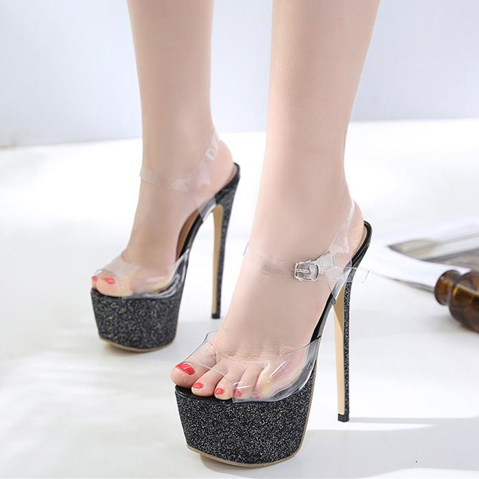 171031fcd6d 16cm Glitter Sequined Black Platform Clear PVC Ultra High Heels ...