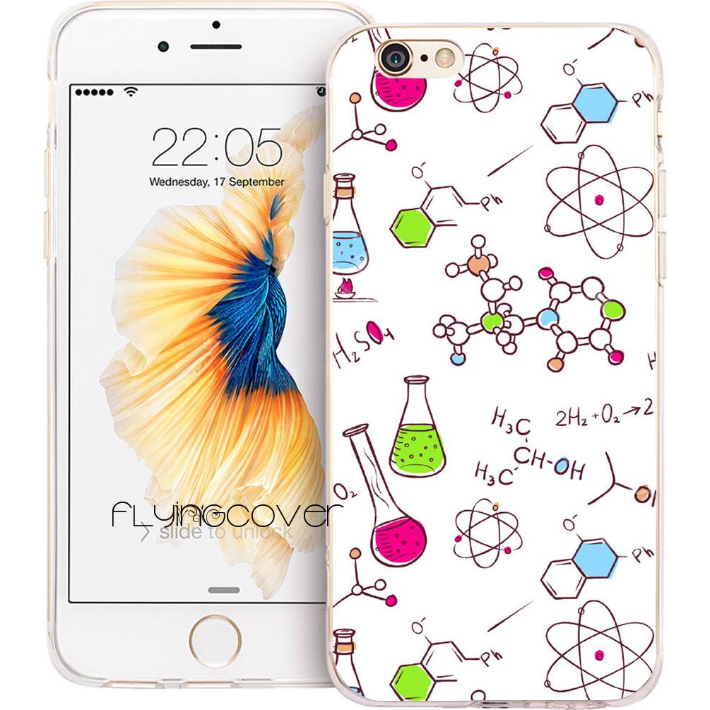 Coque Chemistry Molecule Clear Soft TPU Silicone Phone Cover for iPhone X 7  8 Plus 5S 5 SE 6 6S Plus 5C 4S 4 iPod Touch 6 5 Cases