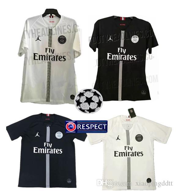 18 19 CHAMPIONS LEAGUE Soccer Jersey BLACK MBAPPE 7 VERRATTI 6 ... 8afc92525