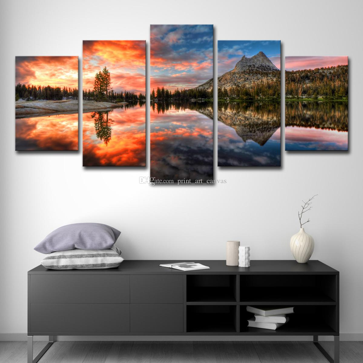 Hd printed modular pictures canvas painting for bedroom home decor 5 panel still sunset landscape poster wall art