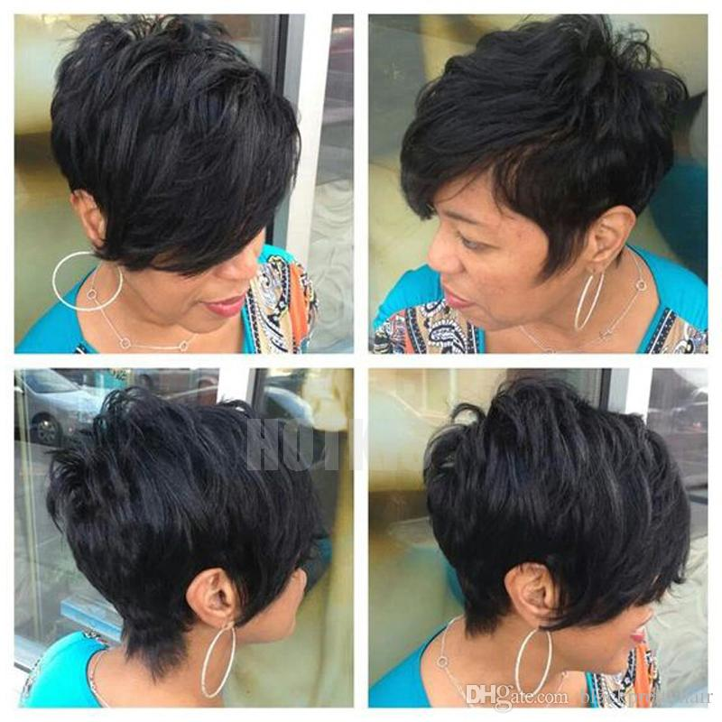 HOTKIS 100% Human Hair Thick Hair Long Bangs Short Layered Cut Wigs Glueless Short Hair Black Bob Wigs for Black Women Layered Bob Style-1B