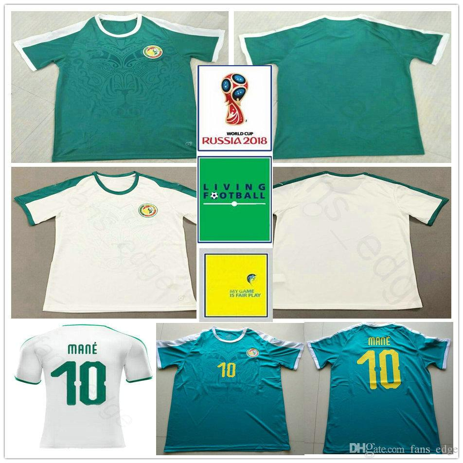 3f46c739a 2019 2018 World Cup Senegal Soccer Jerseys 10 MANE COULIBALY NIANG KOUYATE  GUEYE Blank Custom Home White Away Green Football Jersey Shirt Uniform From  ...