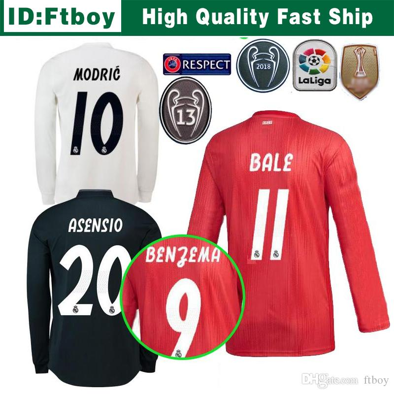 356f81265 2019 New Real Madrid Long Sleeve Home Soccer Jersey 18 19 Real Madrid Away  Men Shirt 2019  11 BALE  22 ISCO Third Red Football Uniforms From Ftboy