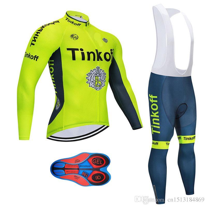9b6eabf15 2018 Pro Team Tinkoff Winter Thermal Fleece Cycling Jersey Bib Pants Kit Ropa  Ciclismo Invierno Bicycle Clothing MTB Bike Jersey Cool Cycling Jerseys  Cycle ...