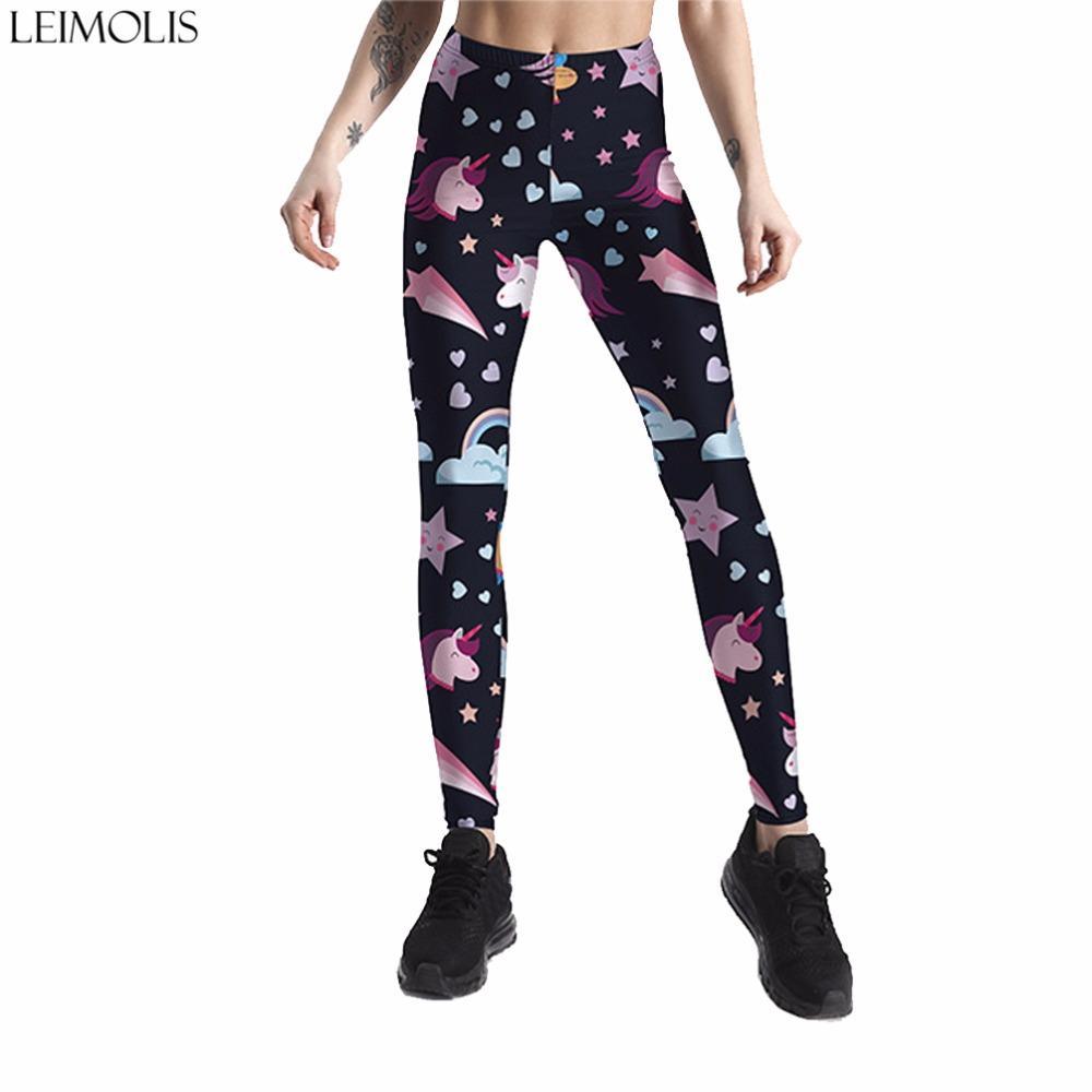 c8ae1611a32 2019 Leimolis 3D Printed Galaxy Stars Unicorn Harajuku Gothic Sexy Plus Size  High Waist Push Up Fitness Workout Leggings Women Pants From Lbdapparel