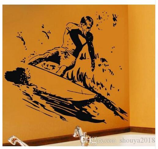 DIY Surfer Wall Stickers Cool Sports Wall Decals for Boys Room Kids Bedroom Vinylk Removable Go Surfing Art Home Decor Murals