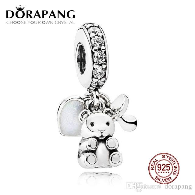 DORAPANG 100% 925 Sterling Silver Baby Treasures Dangle Charm Clear CZ Pendant Charms Bead For Mother Gift Bracelet DIY