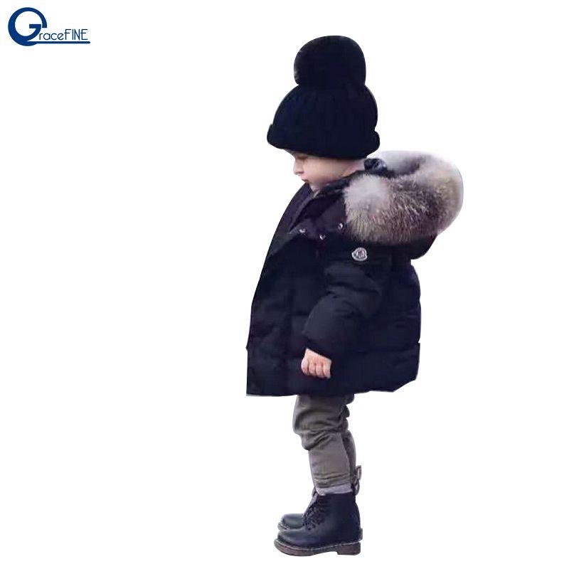 cfec311c8 Autumn Winter Baby Boys Jacket Coat Black Warm Thick Hooded Children ...