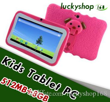 "2018 Hot Kids Brand Tablet PC 7"" Quad Core children tablet Android 4.4 Allwinner A33 google player wifi big speaker protective cover 10pcs"