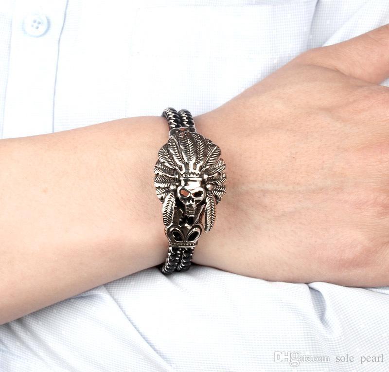 Fashion Jewelry Double leather Bracelet Casual Personality Rock Punk Titanium steel Skull Bracelet for men 2018 new in stock