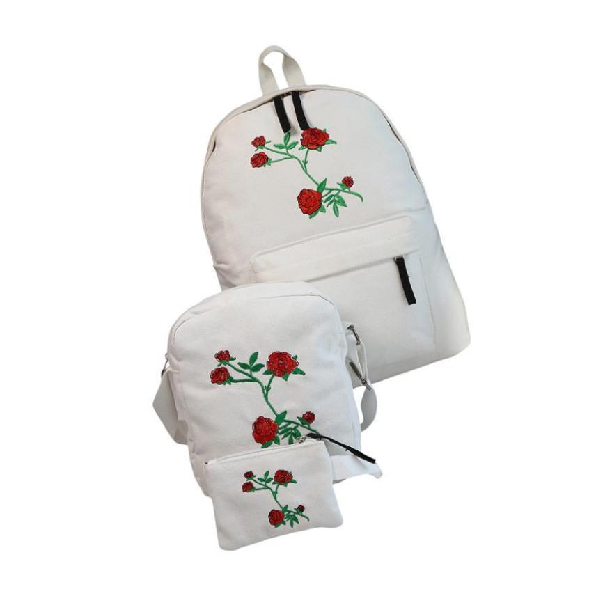2f22be83ea Backpack Fashion Canvas Women Girls Embroidery Rose School Bag Travel Backpack  Bag Shoulder Bag yy Mochilas Jansport School Backpacks From Cityman