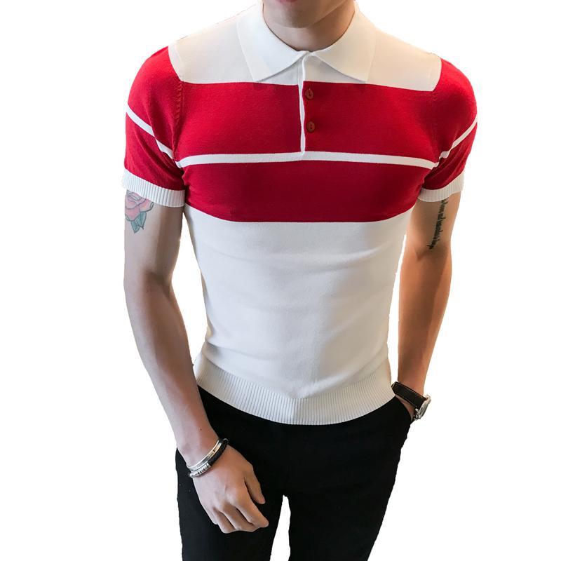 736b0d08bc Compre Contraste Stripe Kniitted Camisa Dos Homens 2018 Verão De Manga Curta  Slim Fit Coreano Moda Camisa Homens Camisa Masculina De Caeley