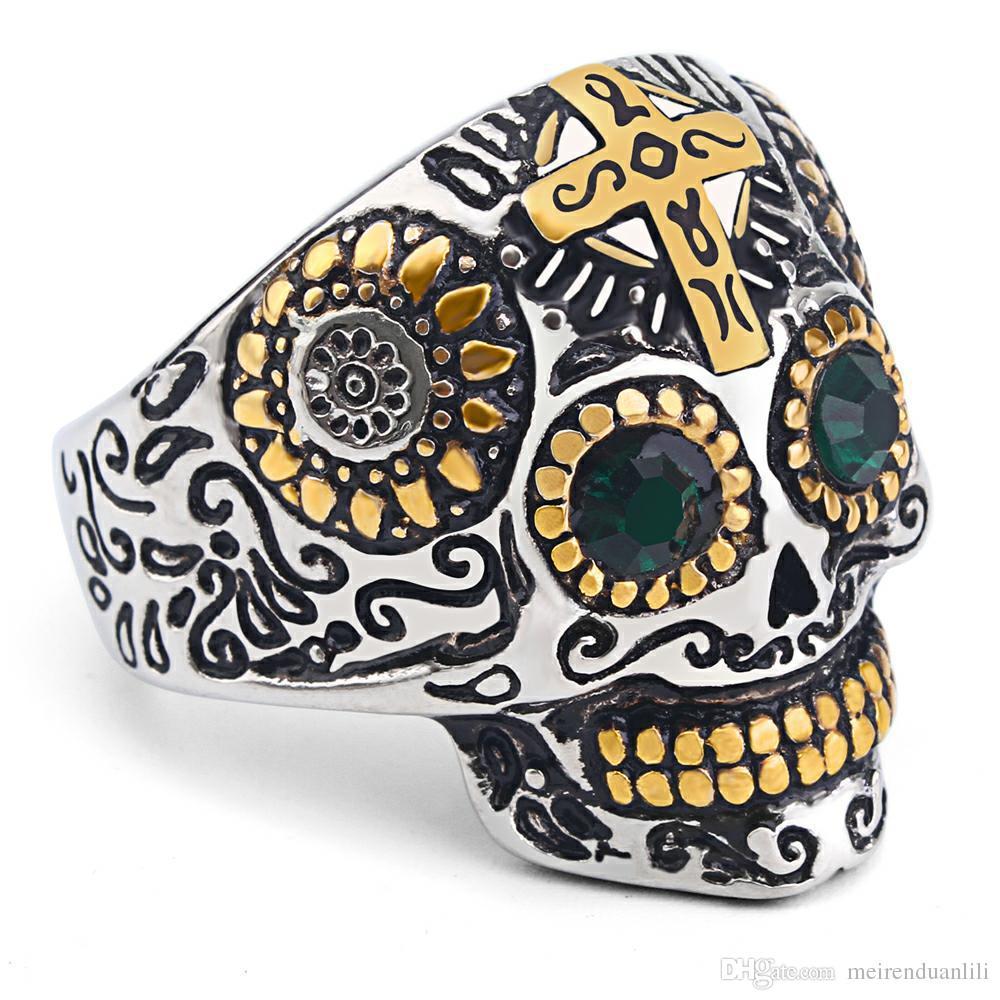 Skull Cross Ring Retro Cool Band Rings Shinning Mr Skell Head Designer Jewelry Punk Biker Pure 316L Stainless Steel Finger Ring For Men