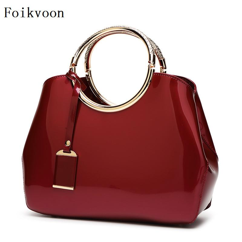 Foikvoon Handbags Woman Bags PU Leather Solid Color Women Shoulder Bags Temperament High Quality Ladies Crossbody