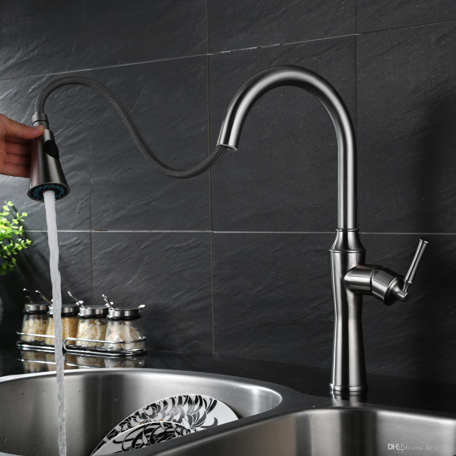 2018 304 Stainless Steel European Kitchen Faucet Rotating Sink Sink ...