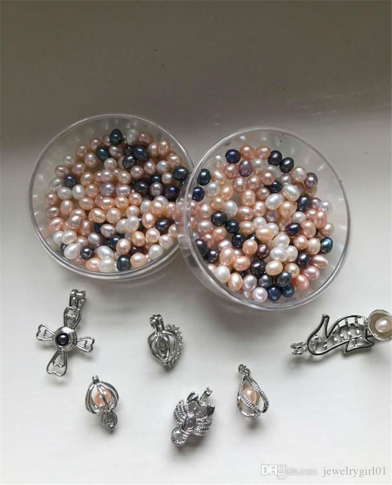 Oval Pearls seed beads 6-7MM white Pink purple Loose Freshwater pearls for jewelry making supplies Cheap wholesale