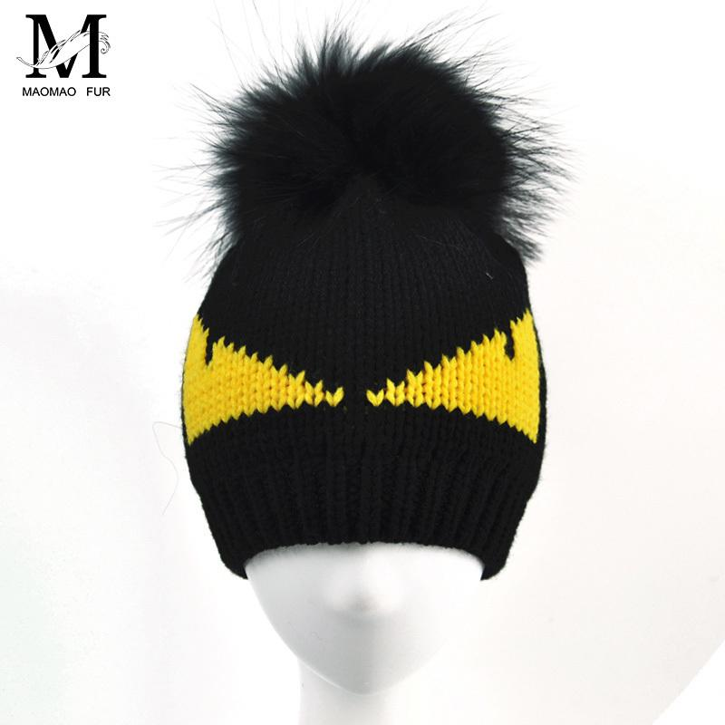 08976bb4701 Women Real Raccoon Fur Pom Pom Hat Ladies Warm Wool Beanie Crochet Winter  Knitted Monster Hat Cap Natural Fur Pompons Beanie Hat D18110601 Baby Hats  Fitted ...