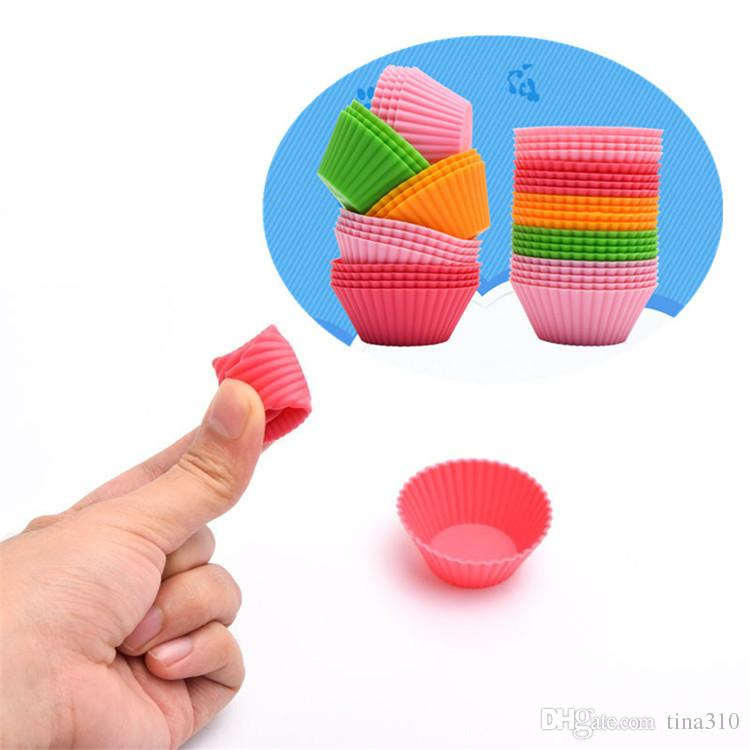 Silicone Cupcake Liners Camouflage Colorful Muffin Cups Round Shaped Cake Baking Molds Jelly Mold IB645