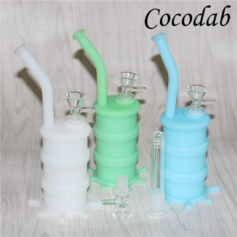 Mini tubi di acqua di vetro Bong Pyrex Silicone Oil Rigs Vetro Bong di spessore Recycler Oil Rig fumatori nettare collettore pad olio di silicone