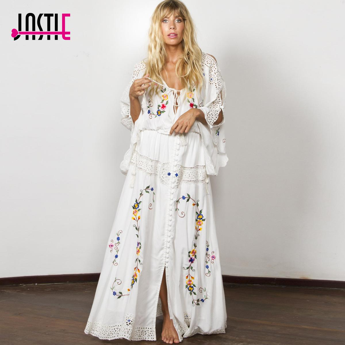quality design 34da4 fc0b1 Jastie Blume Multi Stickerei Frauen Kleid stil Elegantes Weißes Kleid  Beiläufiges Loses Kleid Maxi Kleider Weibliche Vestidos