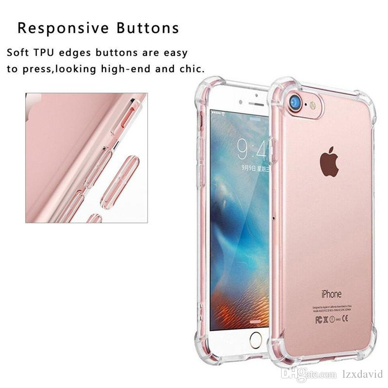 Súper antidetonantes TPU caja del teléfono del claro transparente de protección de la cobertura a prueba de golpes suaves Casos para el iPhone 6 7 8 + X Samsung S8 S9