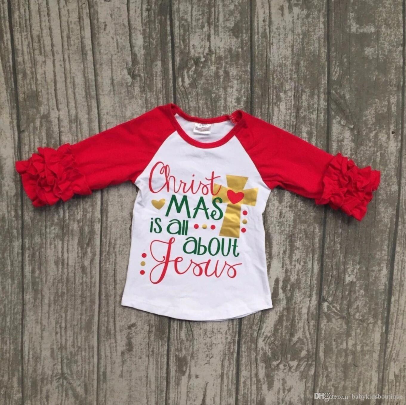 663c3756cb9f 2019 New Baby Girls Christmas Raglan Sleeves T Shirt Toddler Kids Red And  Dot Ruffle Top Fashion Kids Christmas Shirt From Babykidsboutique, $7.84 |  DHgate.