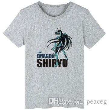 Shiryu T Vêtements Unisexes Blanc Loisirs Shirt Seiya Chaude Anime Cartoon Shirts Coton Courtes Gris Tshirt Manches Noir Saint Vente tsxrBhQdC