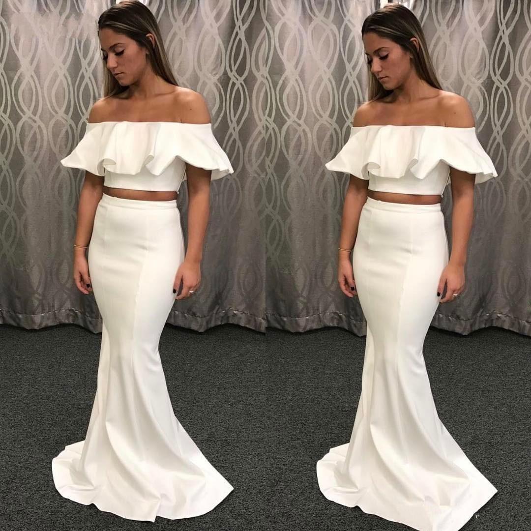 737f652365167 2019 Unique Mermaid White Sexy 2 Piece Prom Dress Short Crop Top Off  Shoulder Long Party Gowns vestido longo Elegant Evening Formal Dresses