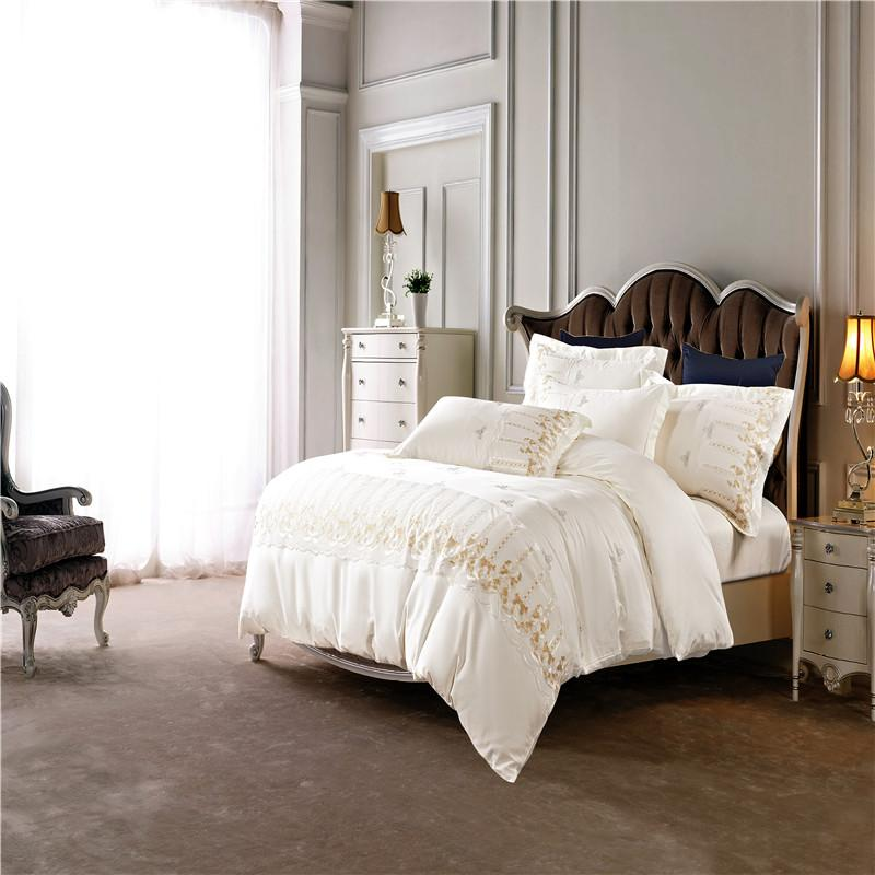 Svetanya White Embroidered Luxury Bed Linens Queen King Size ...