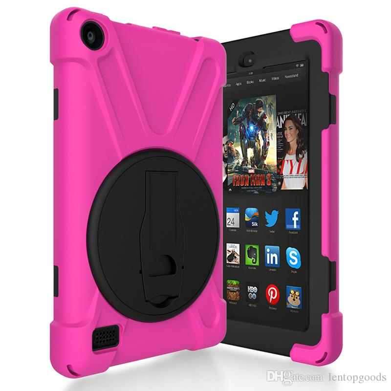 "Silicone Hard Back Cover for Kindle Fire HD 7"" 2017 Release Kids Shockproof Holder Case for Kindle Fire HD 7 inch Tablet+Pen"
